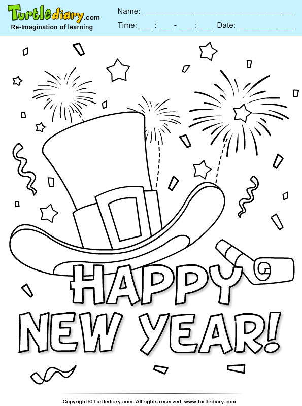 New Year Confetti and Firework Coloring Page