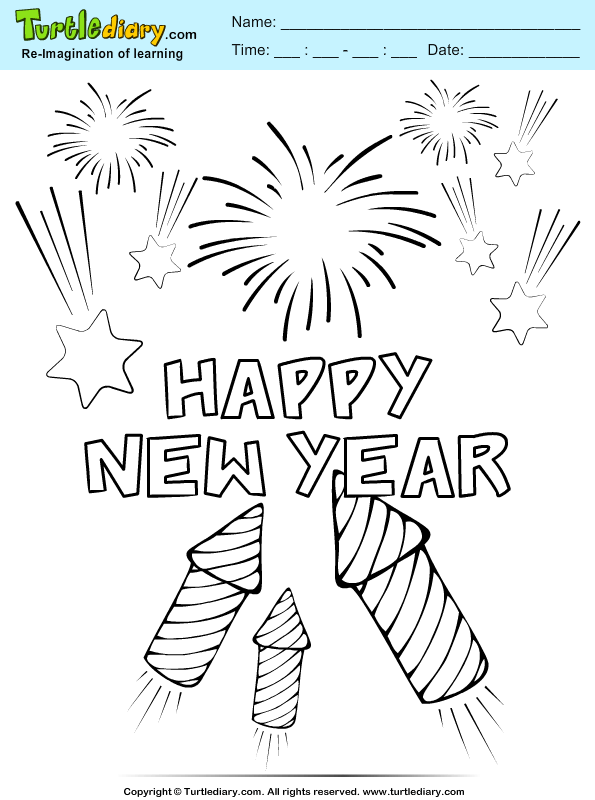 New Year Firework Coloring Page