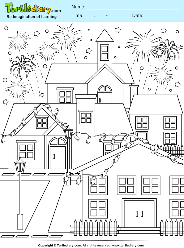 New Year Ligthing and Firework Coloring Page