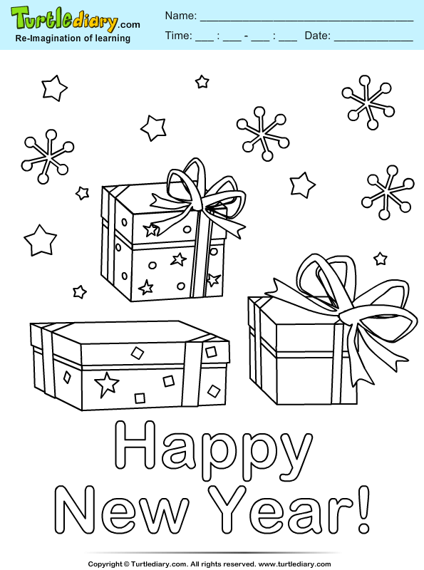 New Year Present Coloring Page