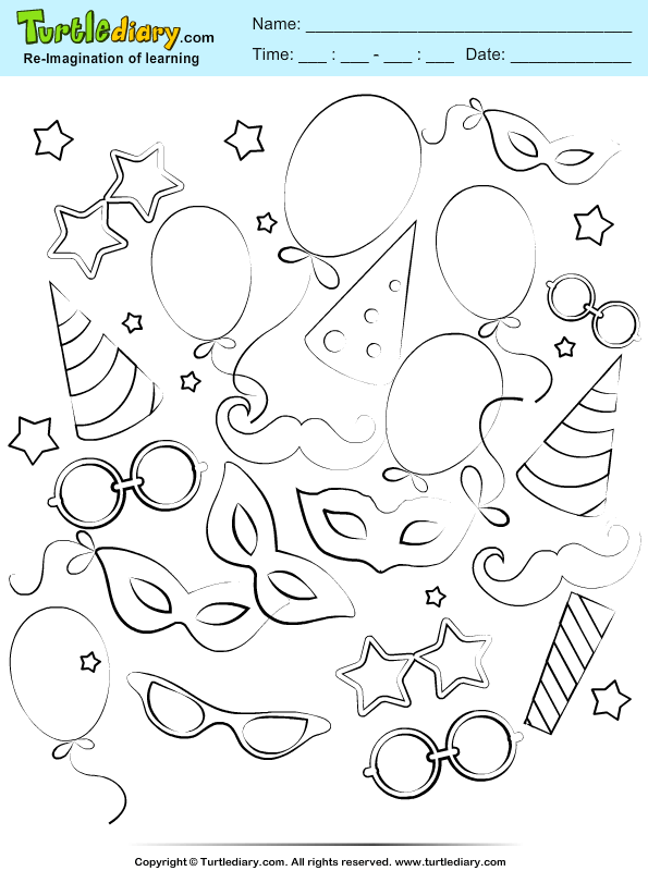Party Mask Coloring Page