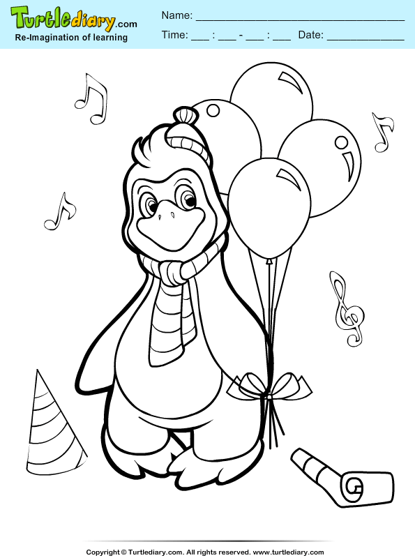 Penguin with Balloon Coloring Page