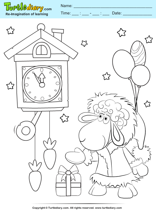 Sheep in a Party Coloring Page