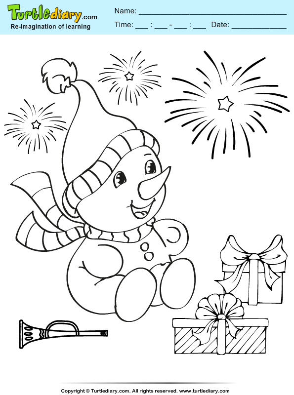 Snowman Present Coloring Page