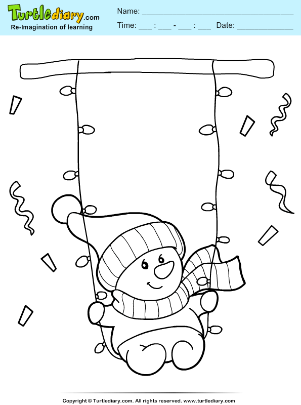 Snowman Swing Coloring Page