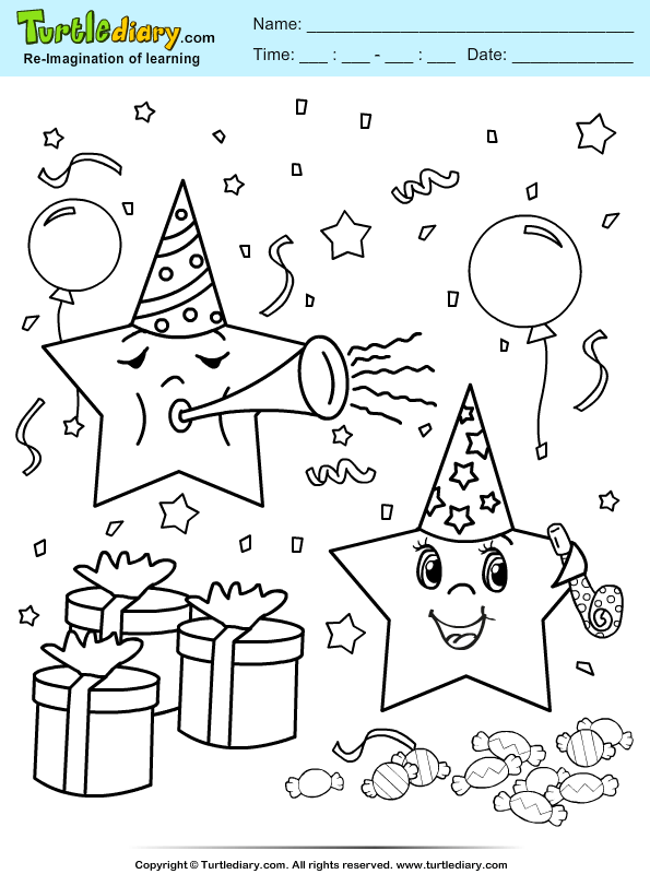 Star Party Coloring Page