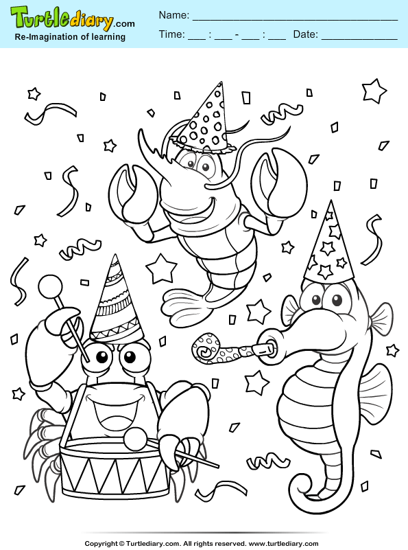 Underwater Party Coloring Page