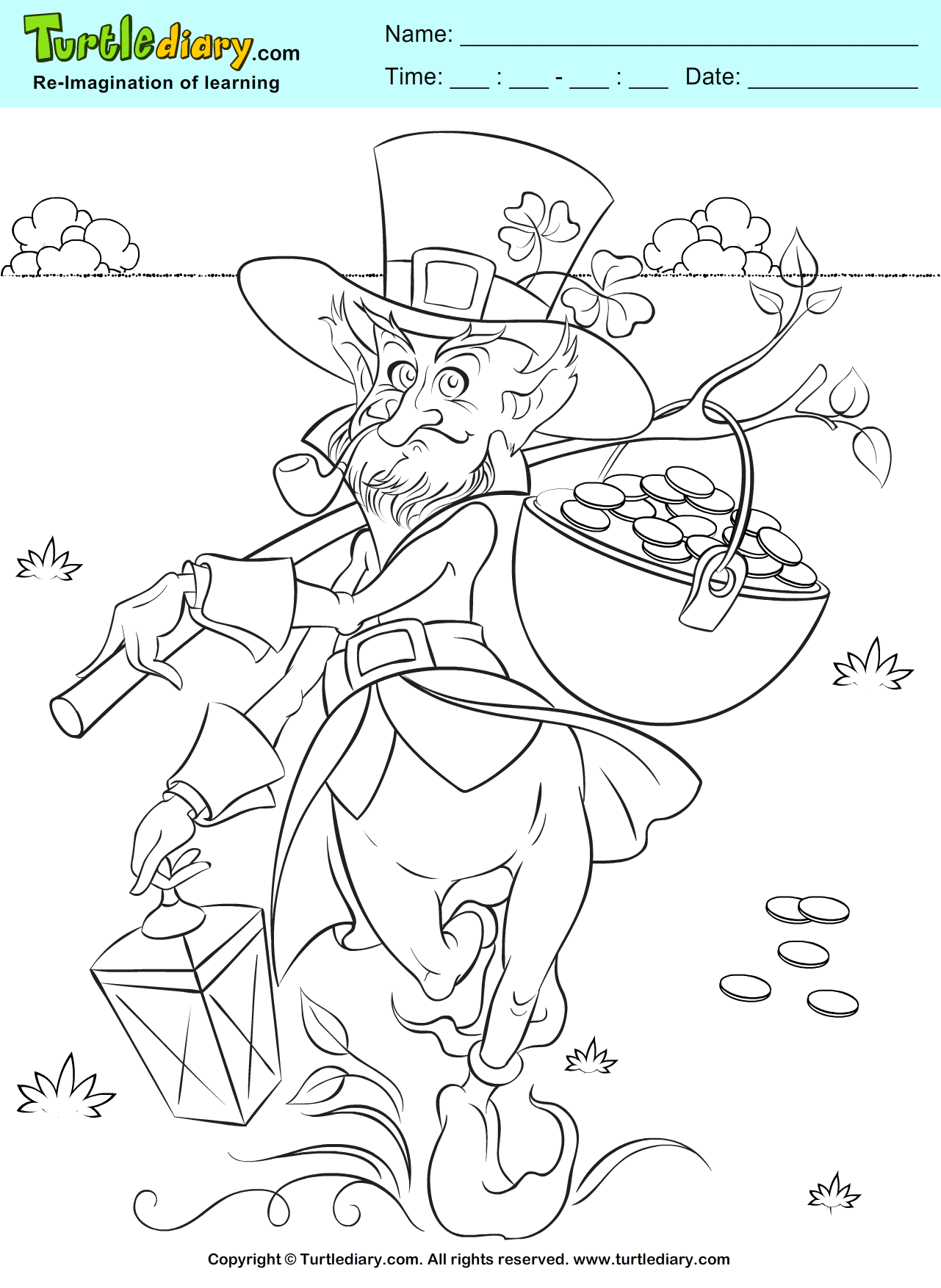Coloring sheet leprechaun - Leprechaun And Gold Pot Coloring Page