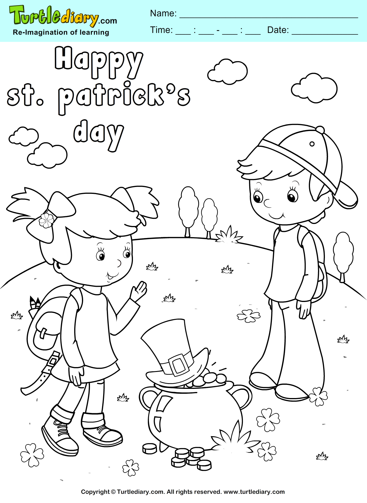 Leprechaun Hat and Gold Pot Coloring Page