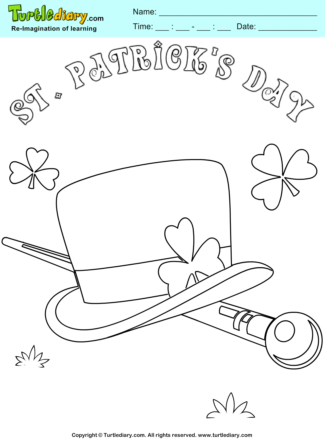Leprechaun hat coloring sheet turtle diary for Leprechaun hat coloring page