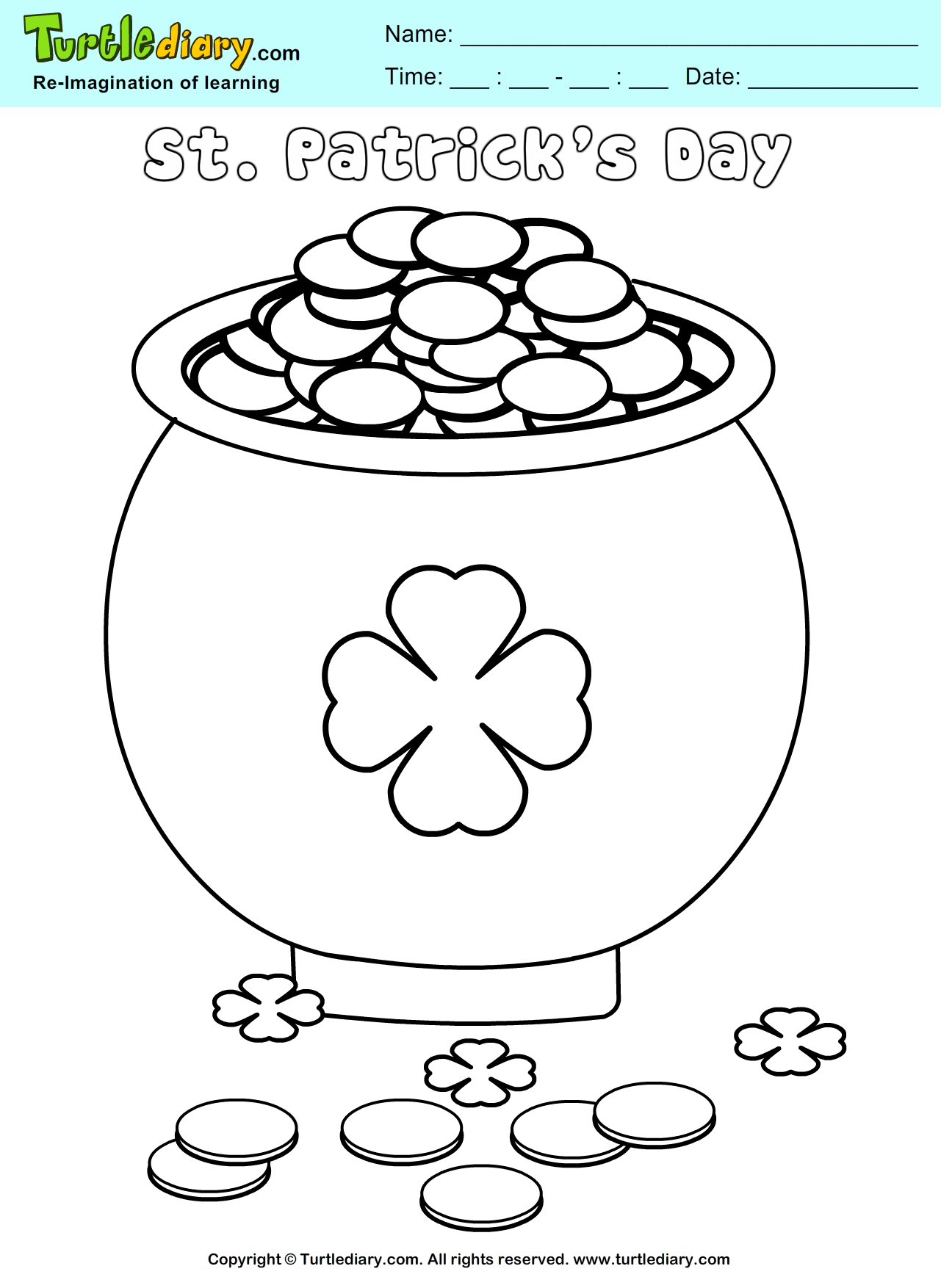 pot of gold coloring sheet turtle diary