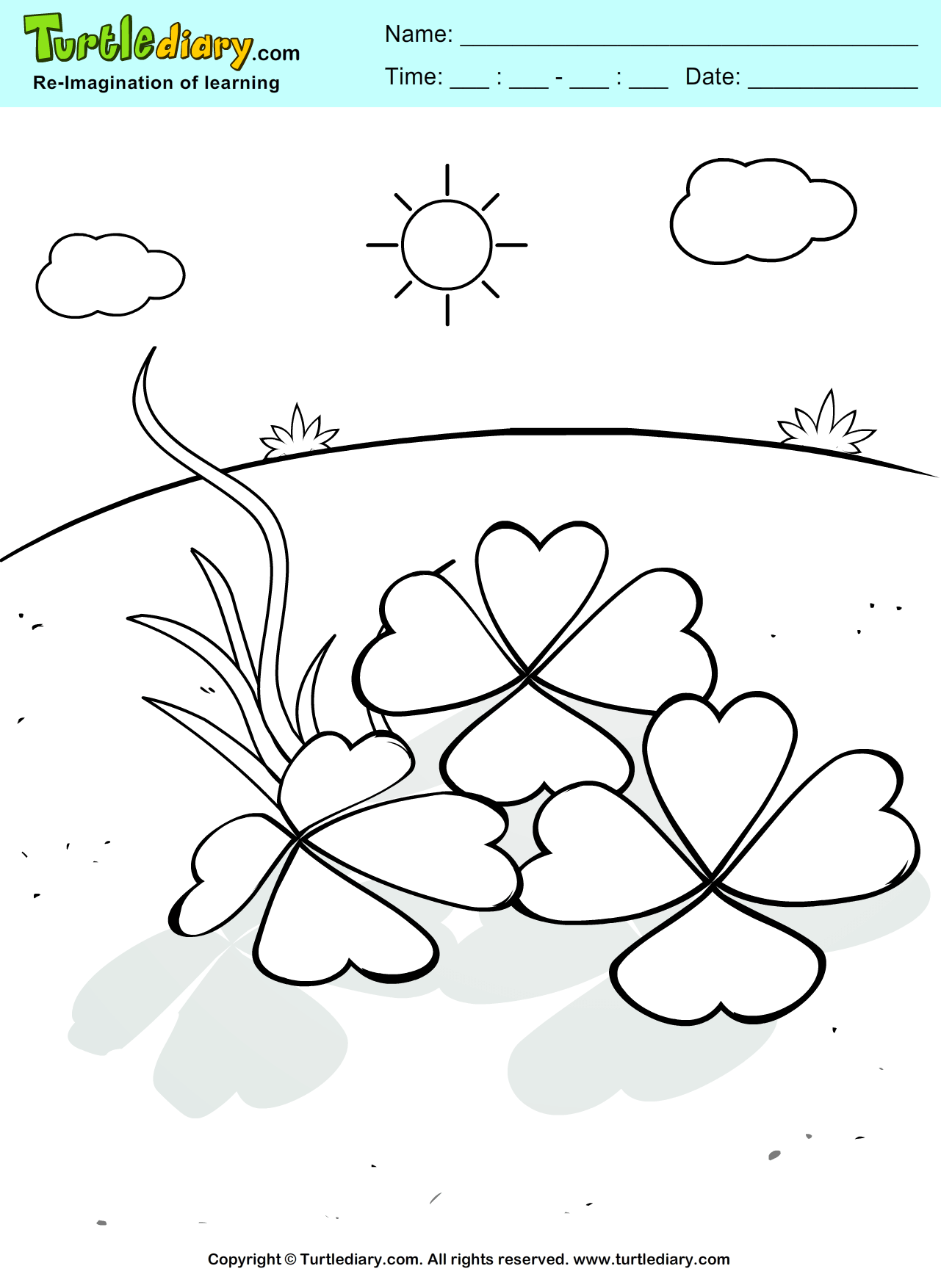 Shamrock Coloring Sheet | Turtle Diary