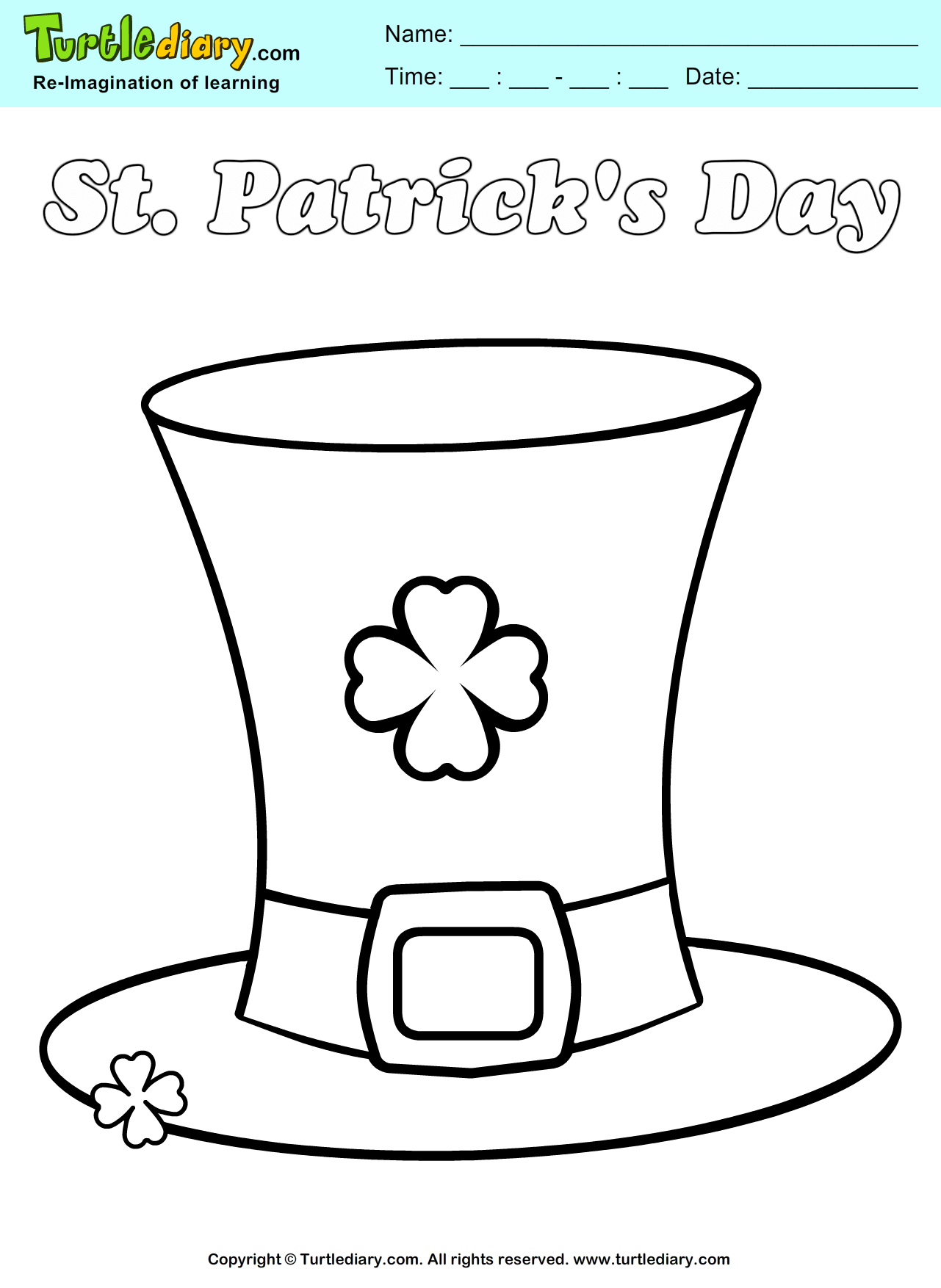 St patrick 39 s hat coloring sheet turtle diary for Leprechaun hat coloring page