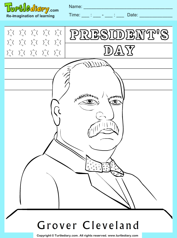 grover cleveland coloring sheet turtle diary