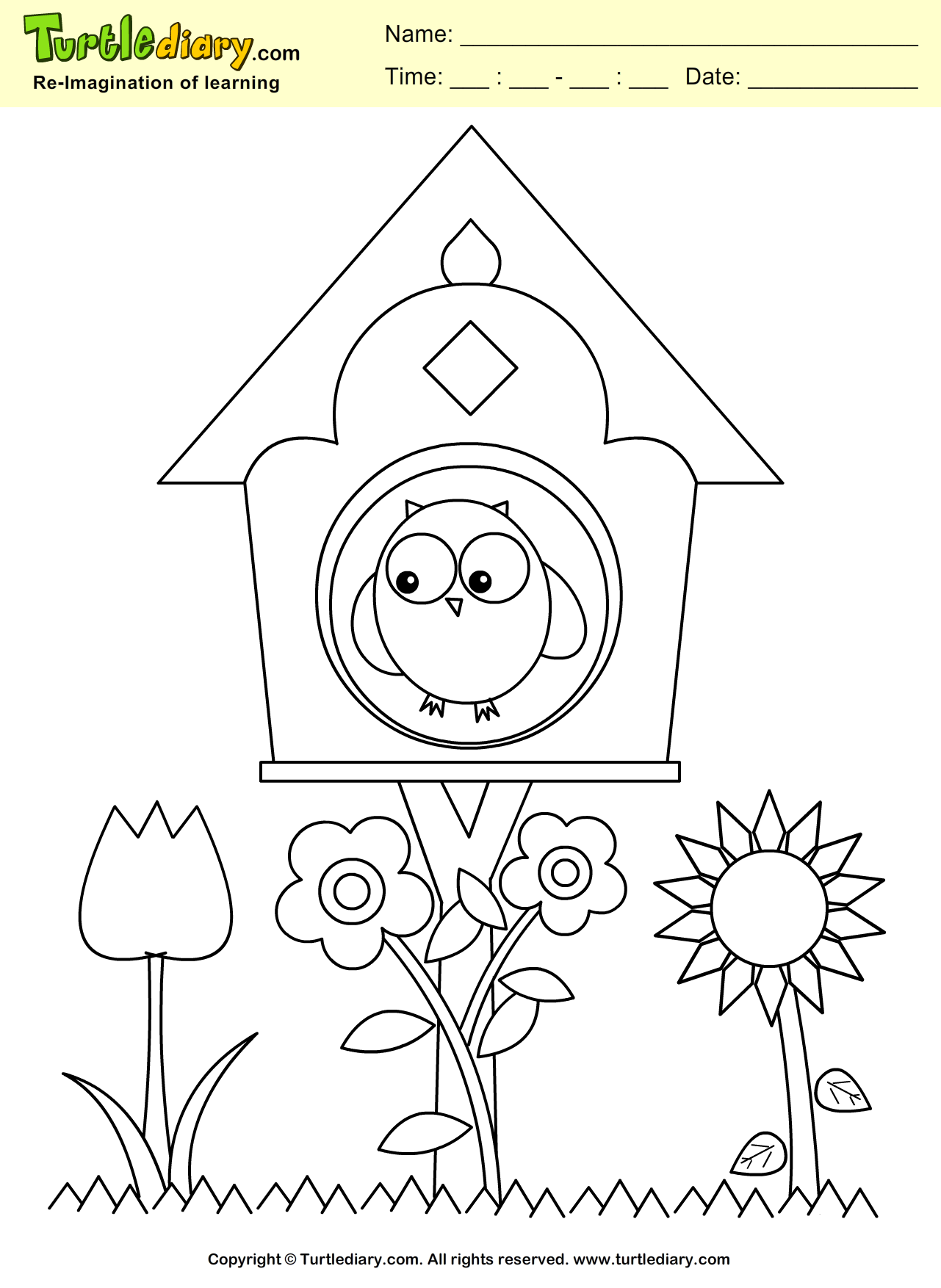 Bird house coloring page