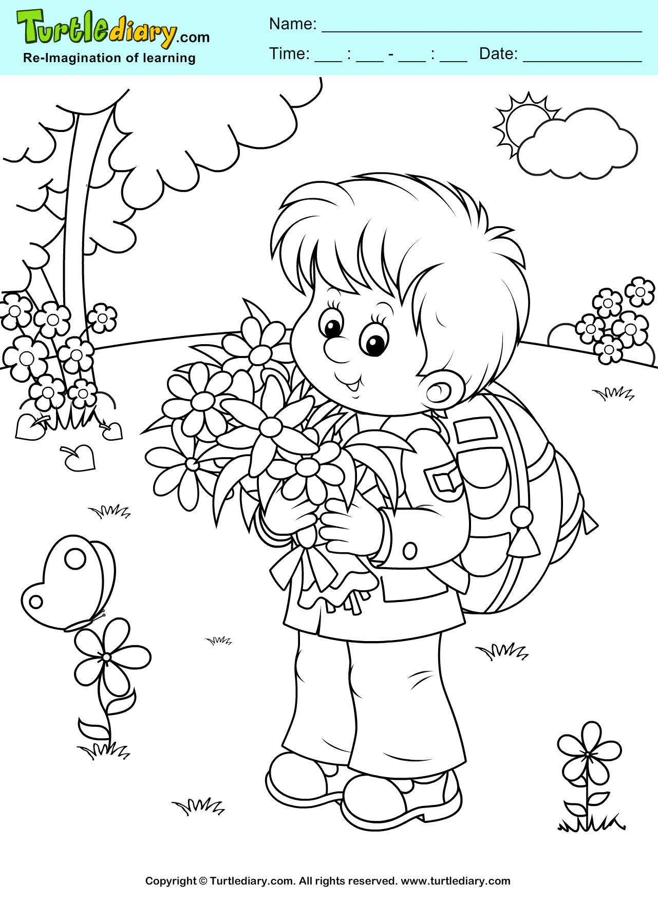Boy with Flowers Coloring Page