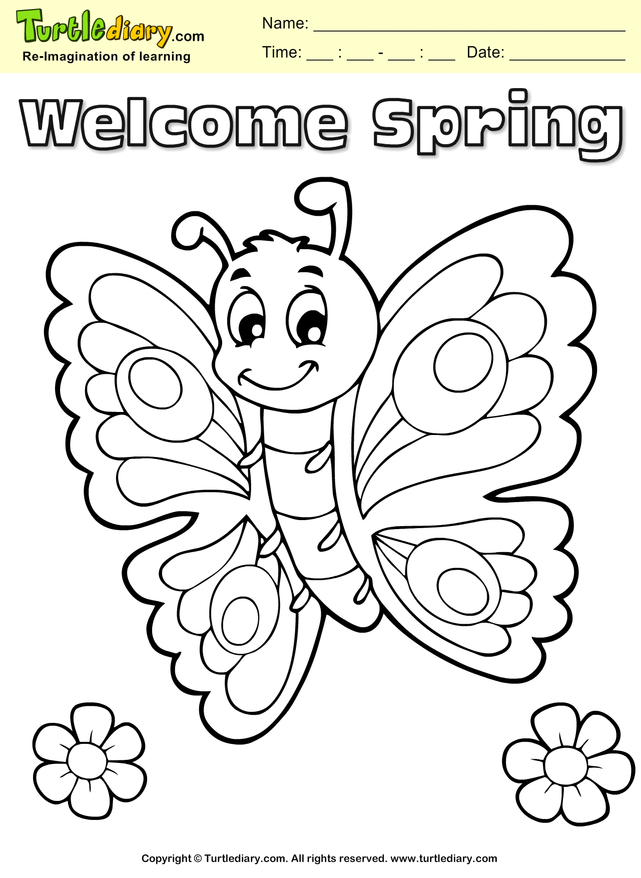 Butterfly Coloring Sheet Turtle