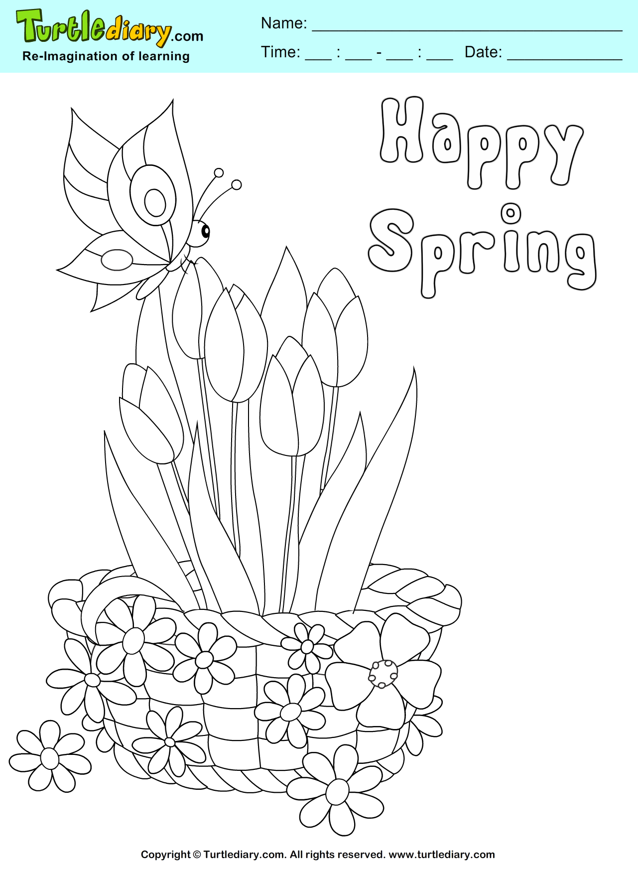 Flower Basket Coloring Sheet Turtle Diary