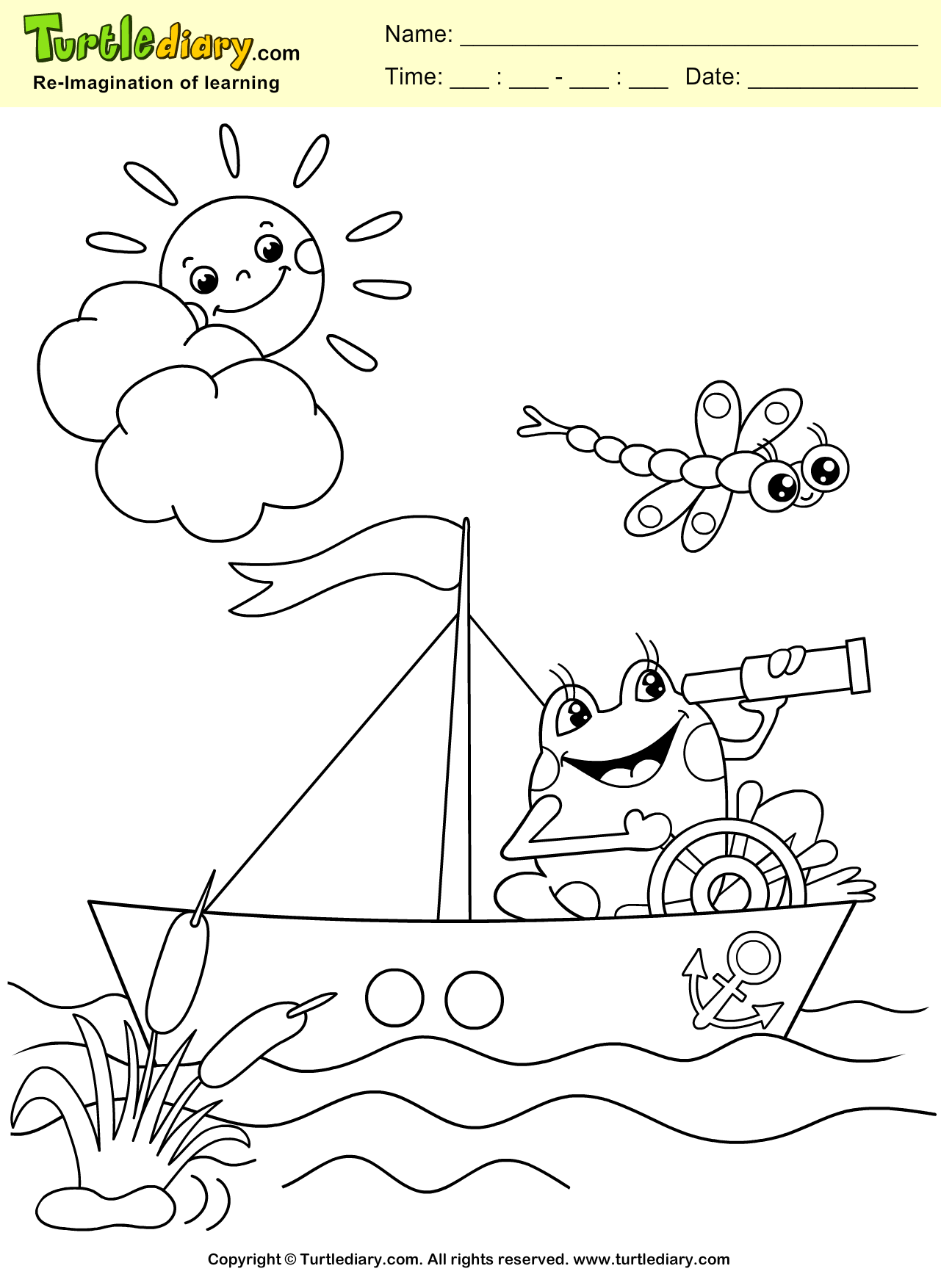 Frog and Boat Coloring Sheet | Turtle Diary