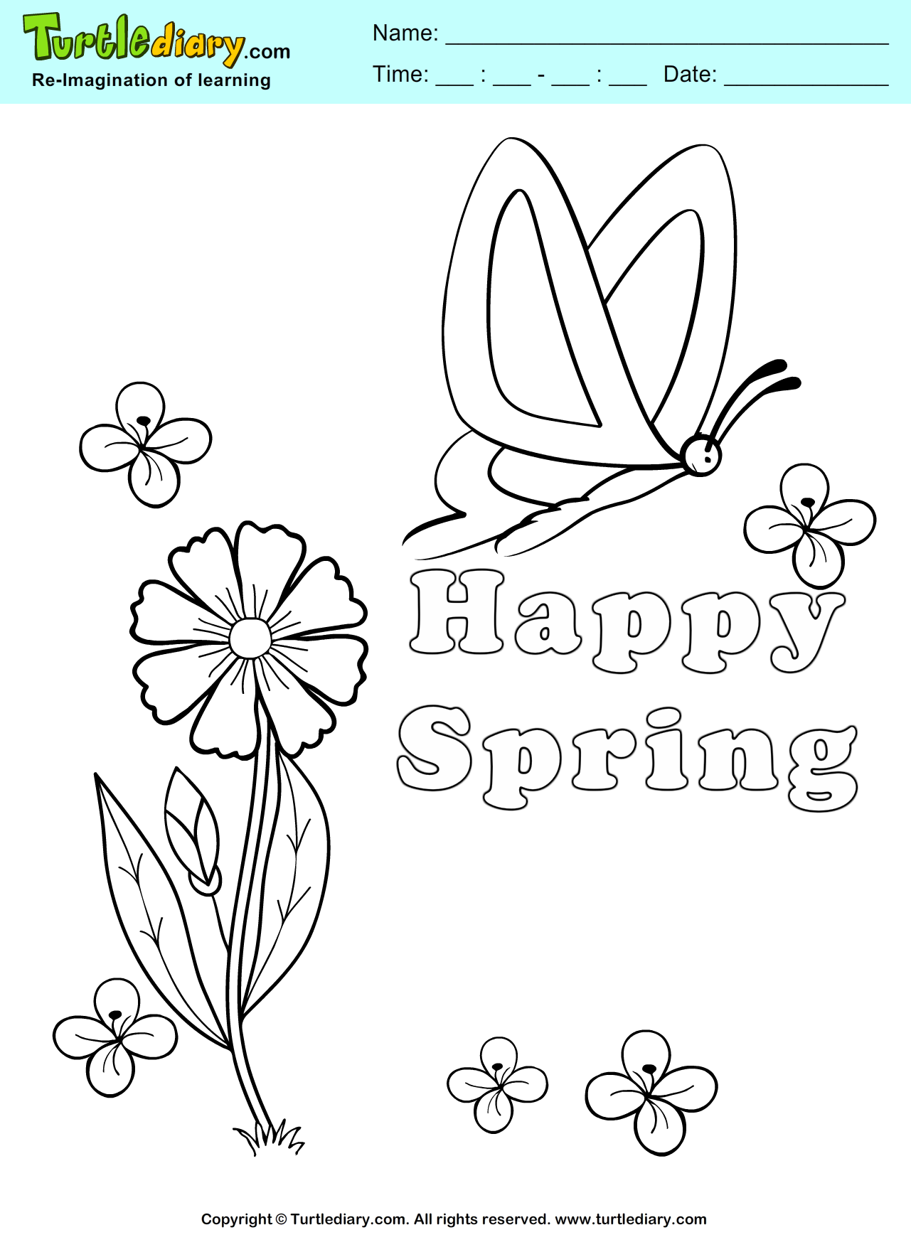 Happy Spring Coloring Page | Turtle Diary