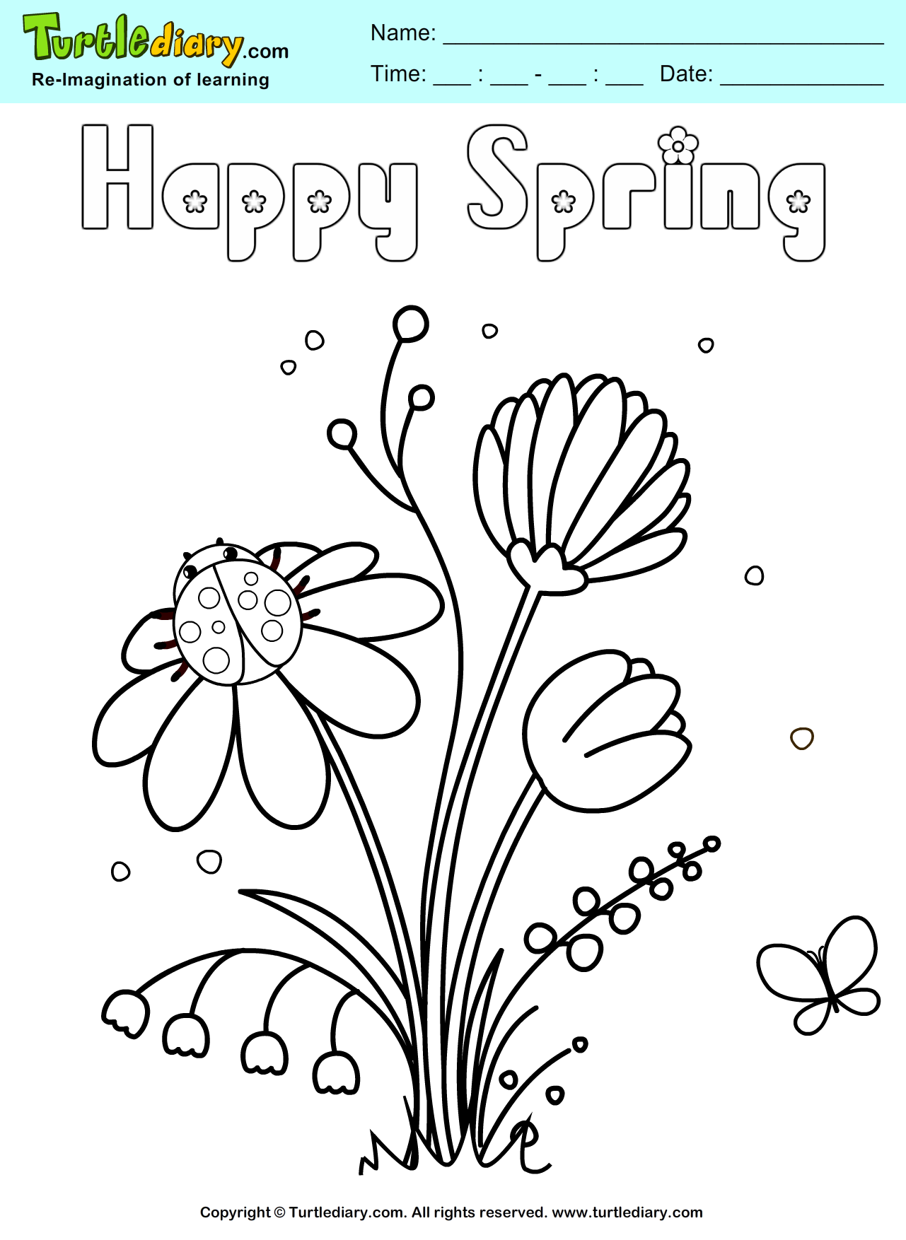 Happy Spring Flower Coloring Page on award worksheets