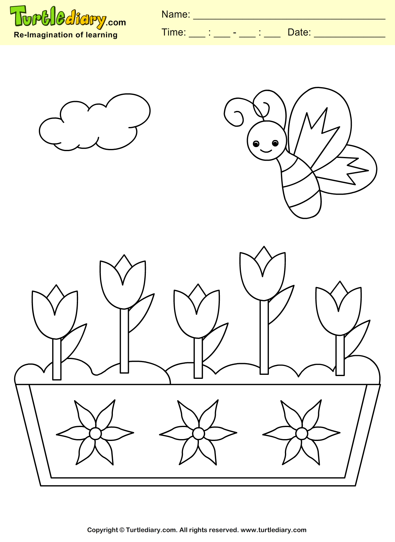 Spring Butterfly Coloring Sheet | Turtle Diary