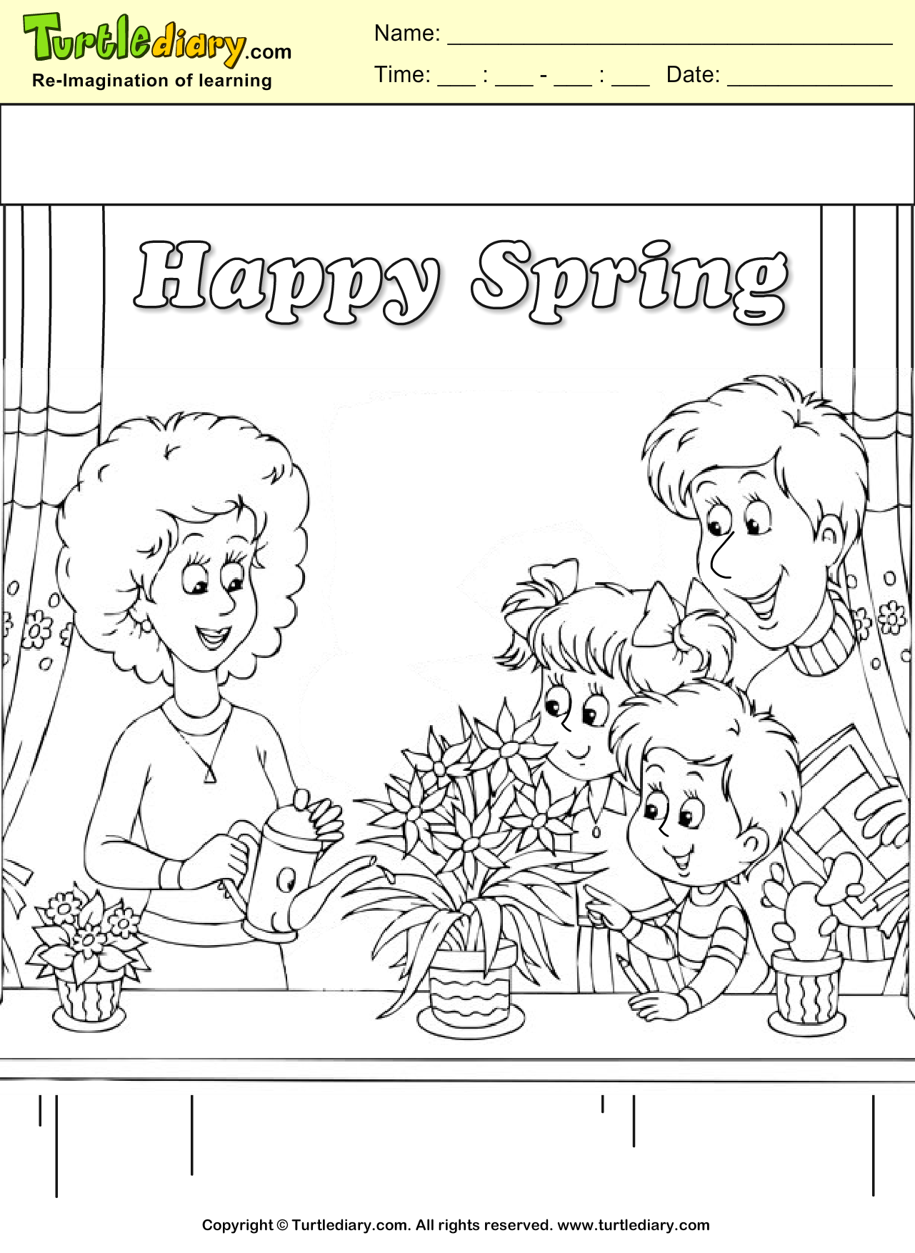 Spring Family Coloring Page
