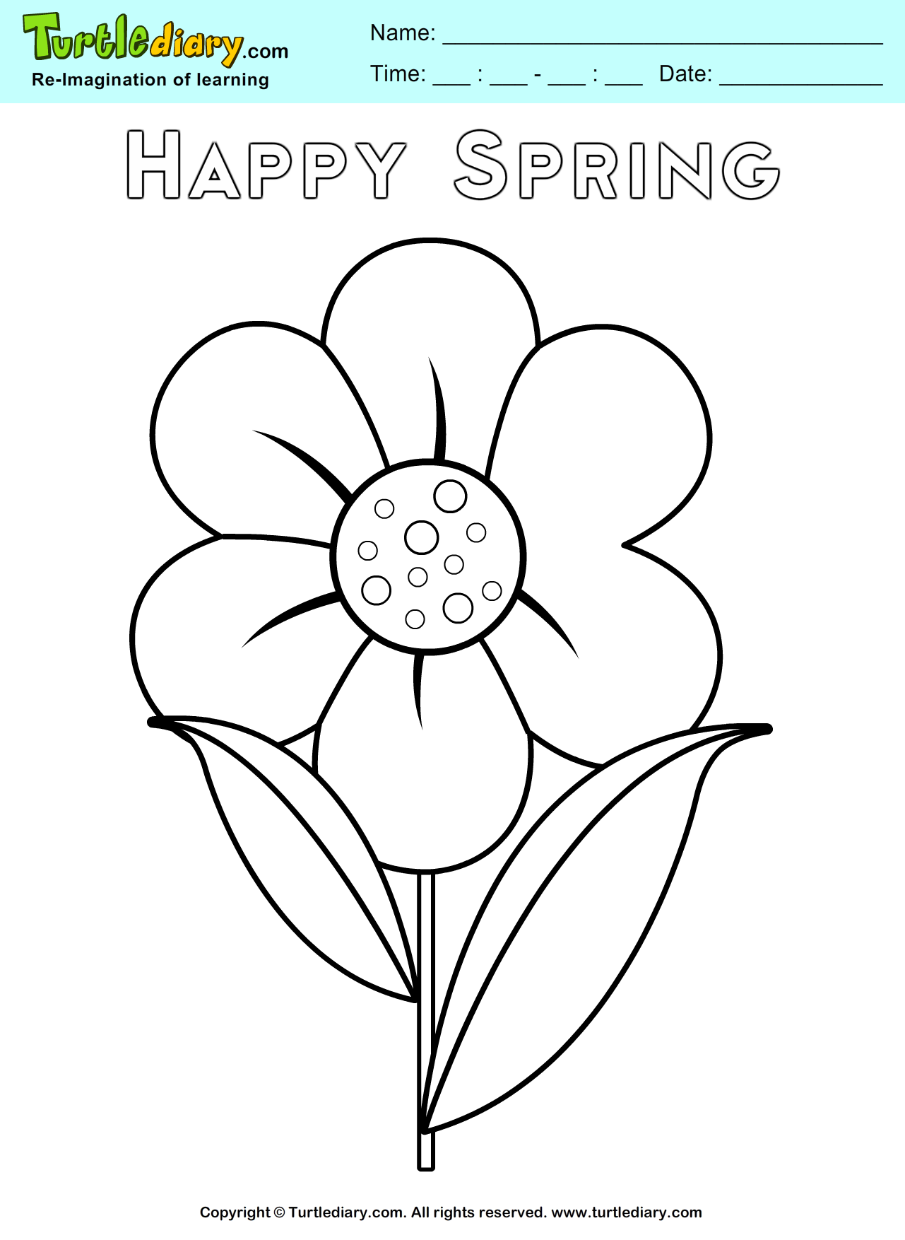 spring flower coloring page turtle diary