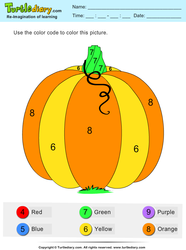 Color by Number Pumpkin Answer