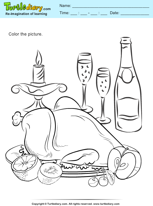 Color a Roasted Turkey
