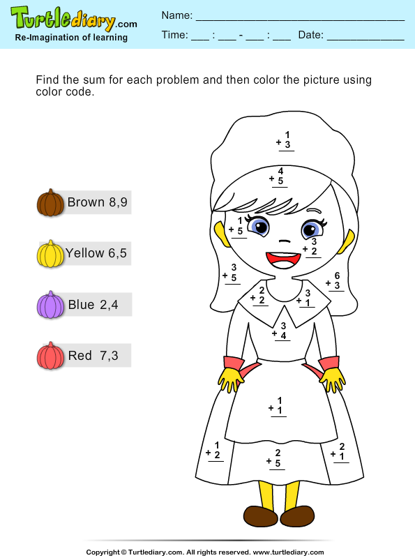 Color by Sum - numbers up to 10