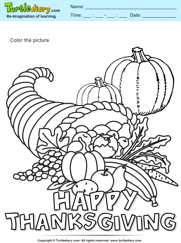 Cornucopia Coloring Sheet Turtle Diary