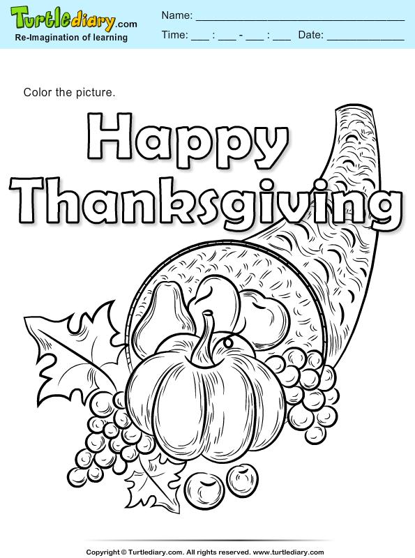 Thanksgiving Color a Cornucopia
