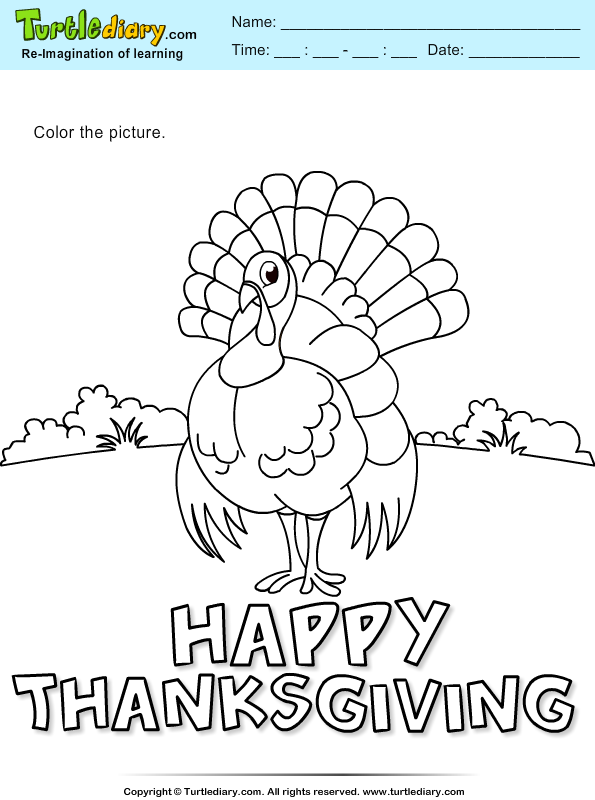 Thanksgiving Color a Turkey