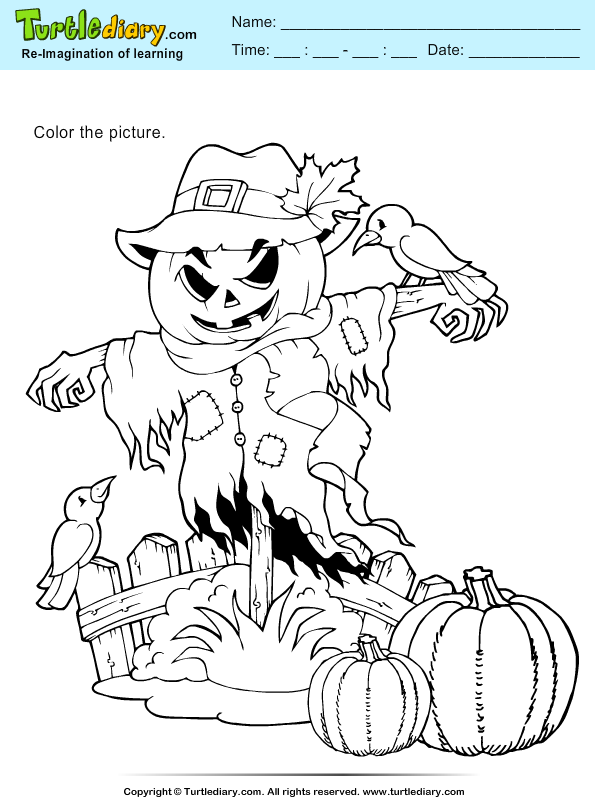 Thanksgiving Coloring Scarecrow