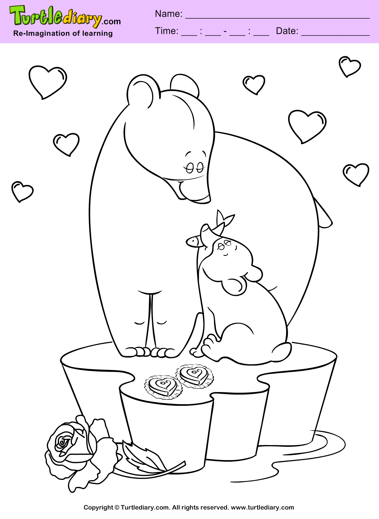 Bears Valentine Day Coloring Page