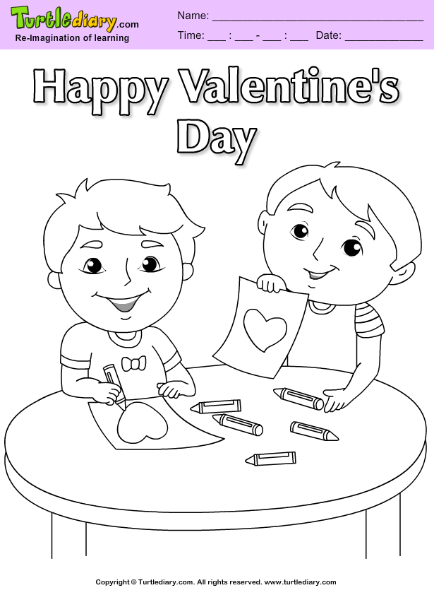 Boys Valentine Coloring Page