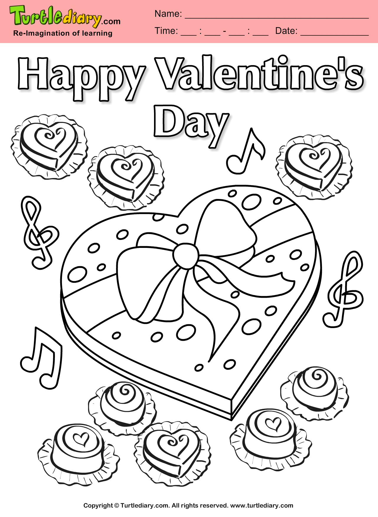 chocolate heart coloring sheet turtle diary