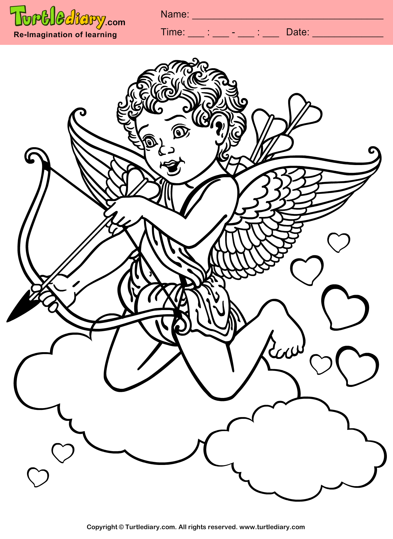 Cupid Coloring Sheet Turtle Diary