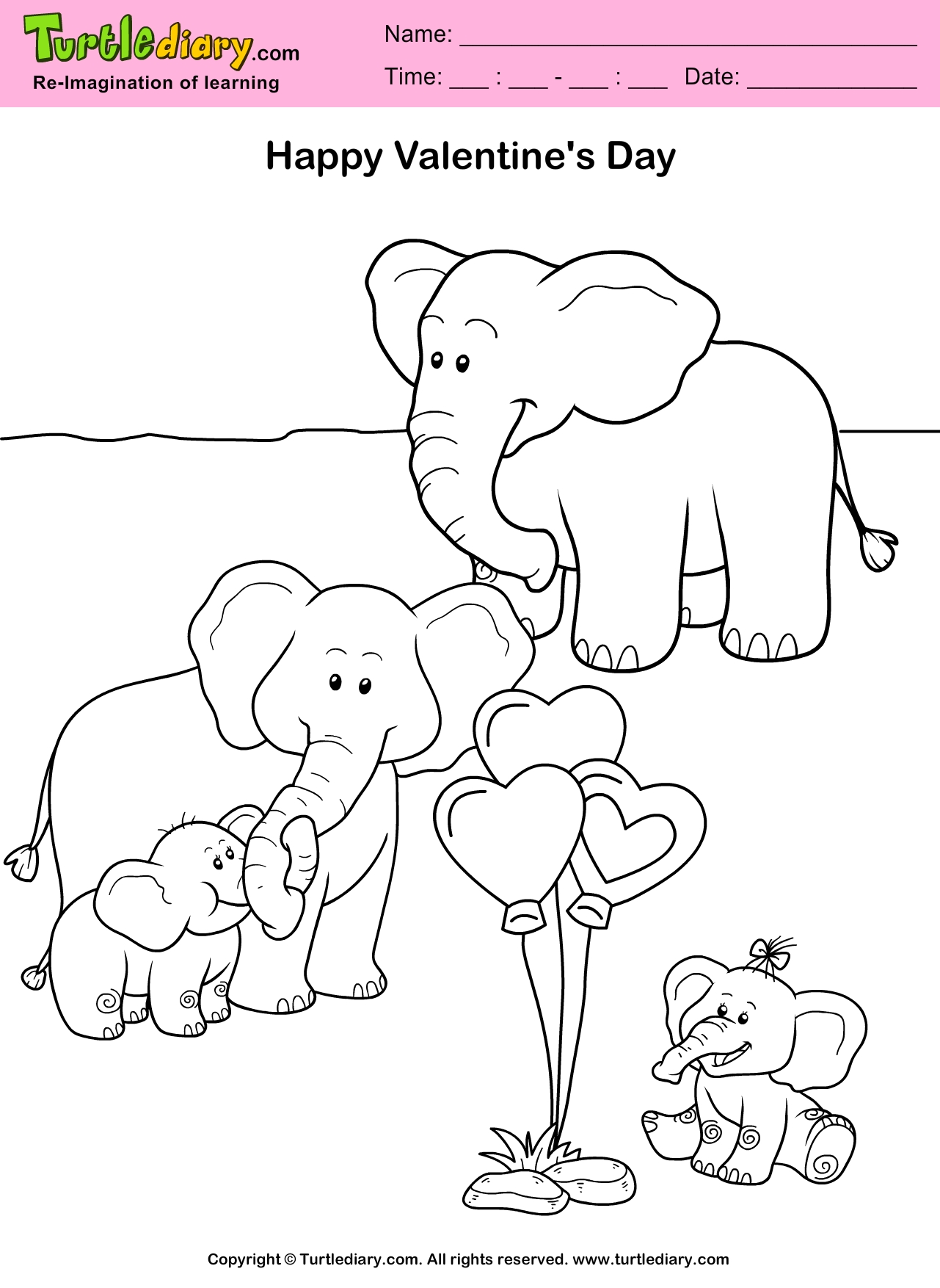 Elephants Valentine Day Coloring Sheet | Turtle Diary