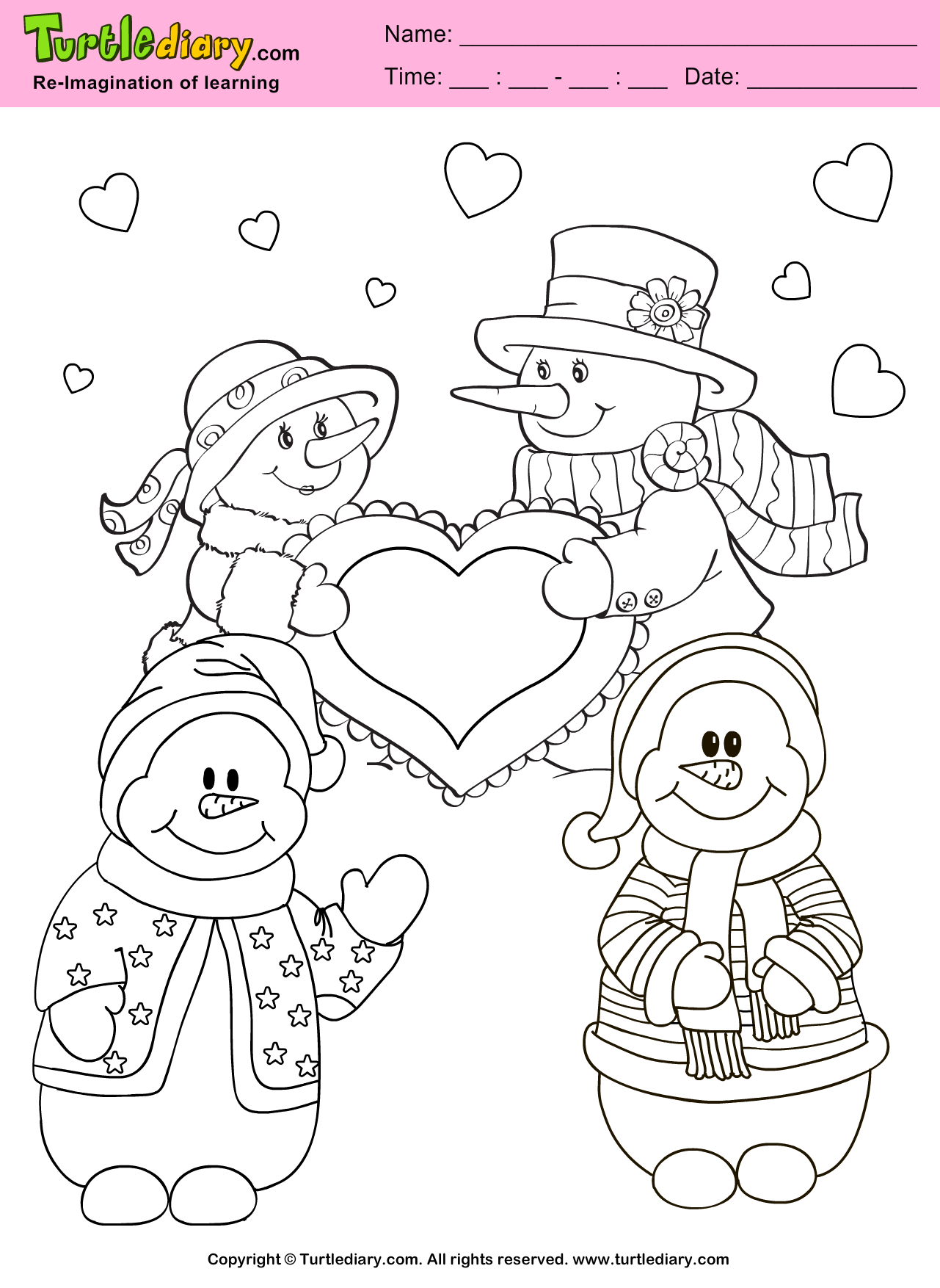 snowman valentine day coloring sheet turtle diary
