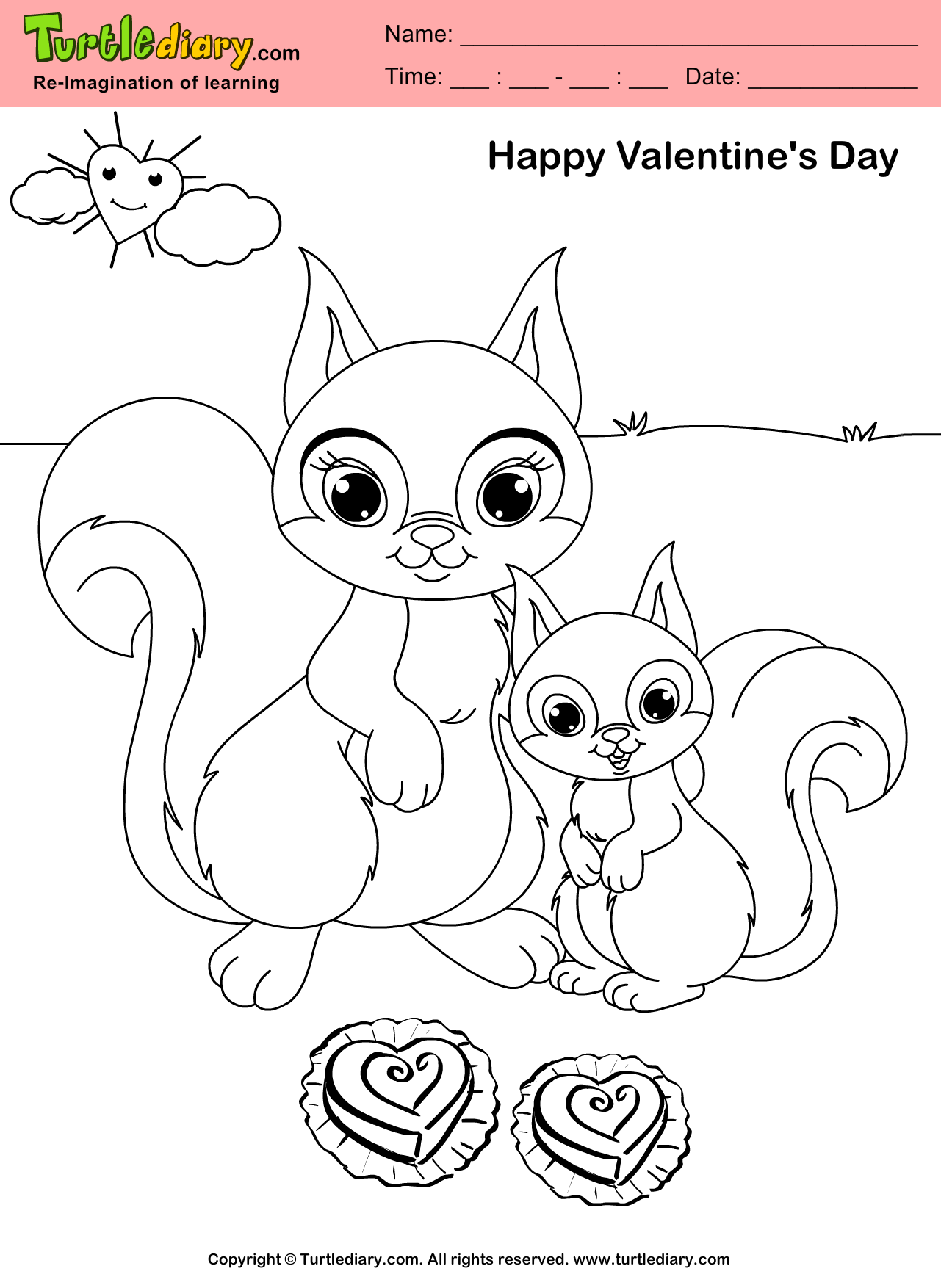 Squirrel Valentine Day Coloring Page