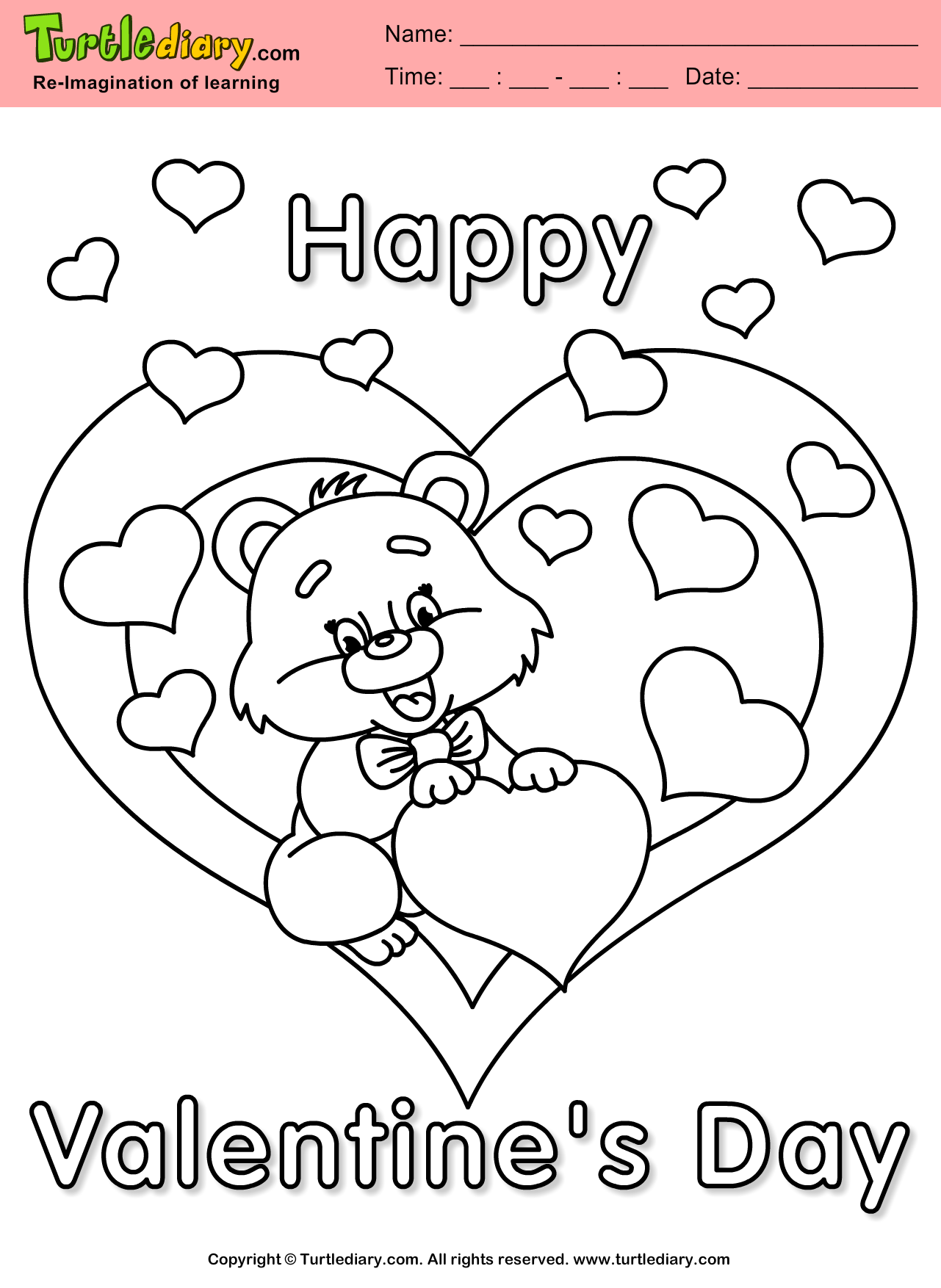 Teddy Bear with Heart Coloring Page
