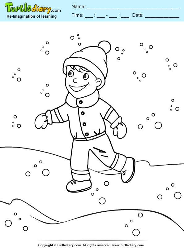 Boy Playing in Snowfall Coloring Page