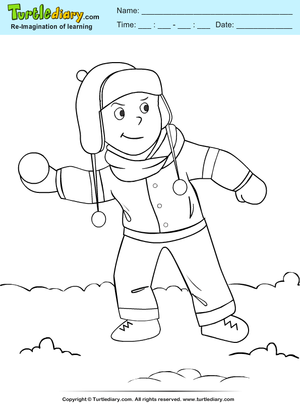 Boy Playing with Snowball Coloring Page