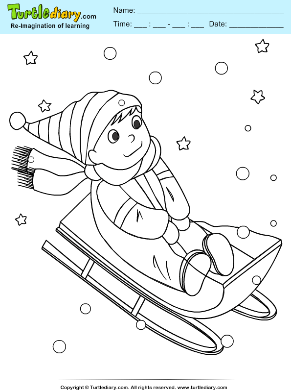 Boy Sleigh Coloring Page