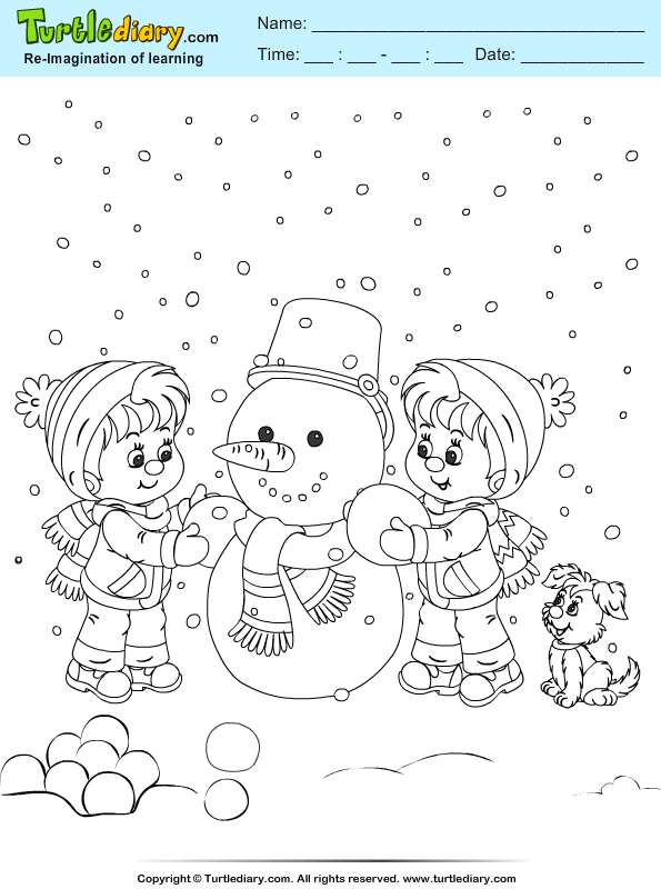 Boys Making Snowman Coloring Sheet | Turtle Diary