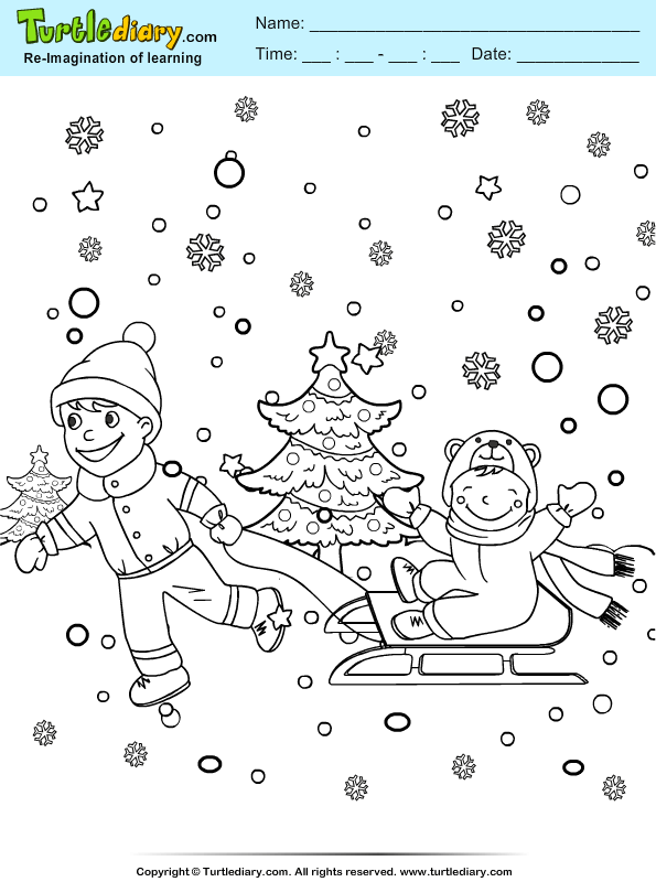 Boys Playing in Snowfall Coloring Page