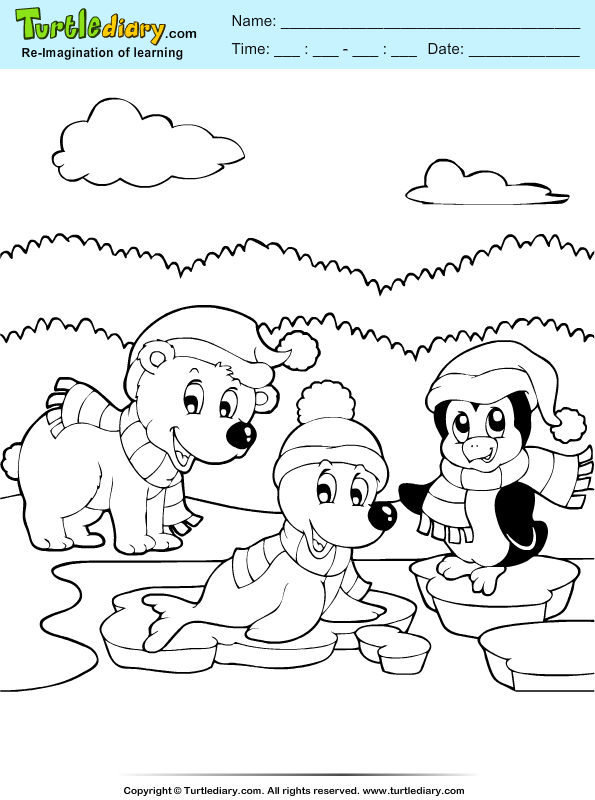 Dog and Penguin Coloring Sheet | Turtle Diary