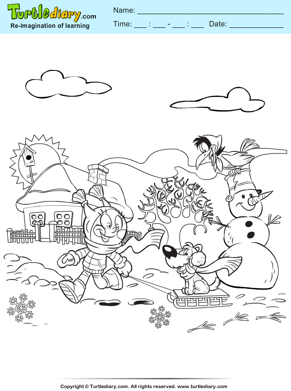 Dog and Raven Coloring Page